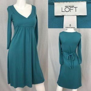Size 8 LOFT V-Neck Long Sleeve Empire Waist Dress